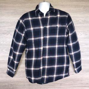 Men's Fleece Lined Plaid Button Down Shirt Jacket